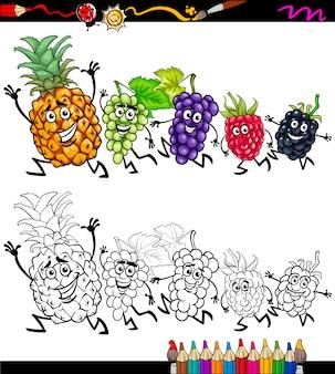 Laufende früchte cartoon färbung seite