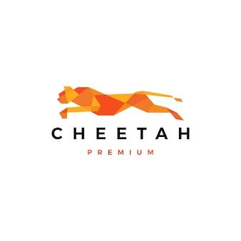 Laufende geparden-tech-geometrische logo-symbolillustration