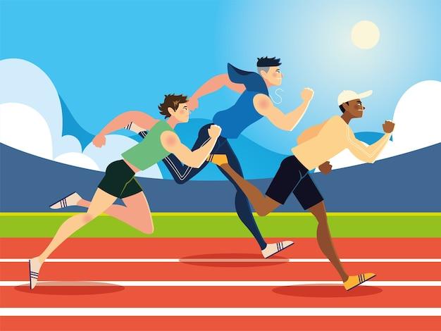 Laufende junge männer sport in der rennstreckenillustration