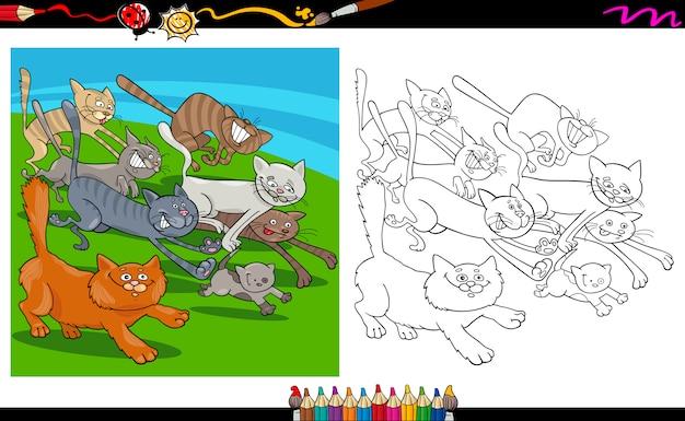 Laufende katzen cartoon färbung seite