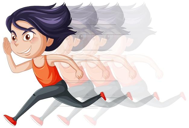 Laufende mädchen-cartoon-figur auf weißem hintergrund