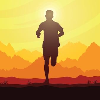 Laufende mannschattenbild in der landschaft