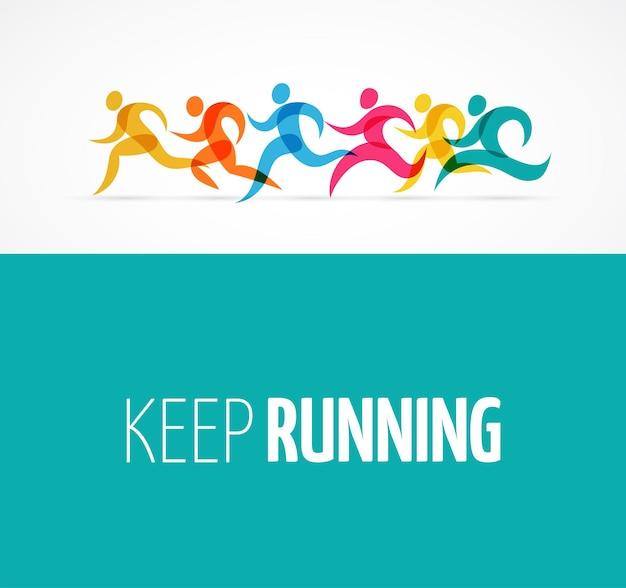 Laufende marathon bunte menschen ikonen und symbole