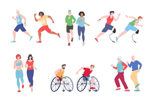 Laufende menschen behinderten illustration