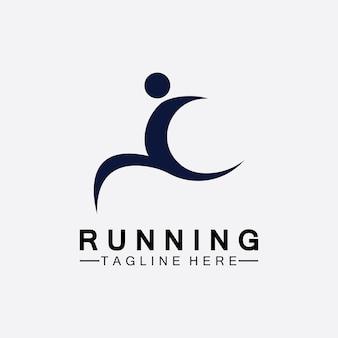 Laufende menschen logo symbol vektor illustration design. gesunde laufmarathonathleten, die vektorlogo sprinten