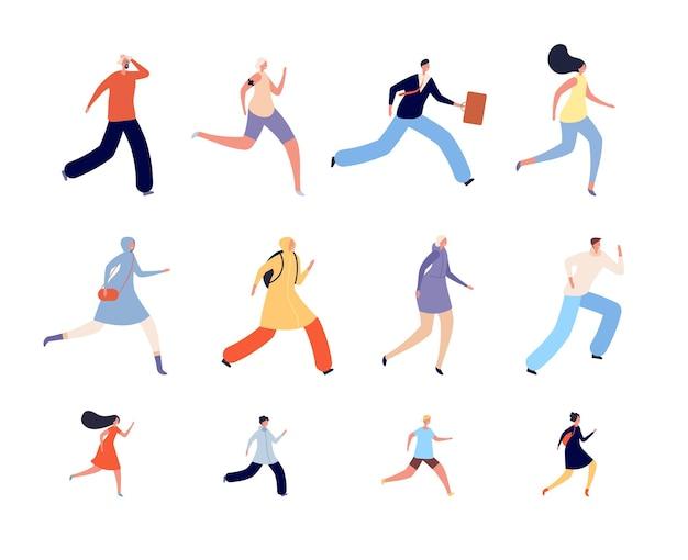 Laufende menschencharaktere. sportlerin, läufer oder jogger in sportbekleidung. aktiver menschlicher lauf, isolierte erwachsene kinder beeilen sich vektor-illustration. joggertraining, gesunder sportlicher lauf zum wellness