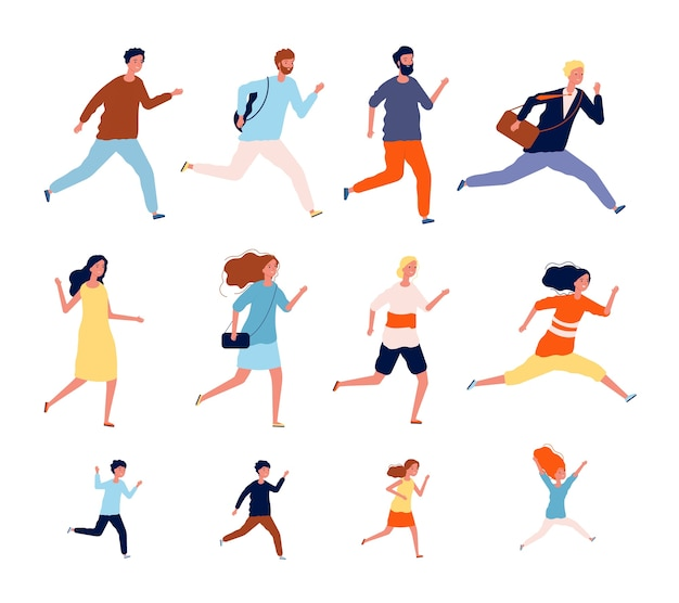 Laufende personen. sport casual und geschäftsleute in verschiedenen kostümen action posiert joggen und springen männliche läuferinnen. menschen führen wettbewerb, rennen übung lebensstil illustration