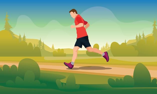 Laufende silhouetten illustration trail running marathonläufer Premium Vektoren