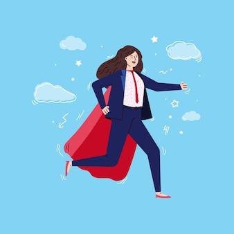 Laufende supergeschäftsfrau im roten umhang und in der anzugskizze