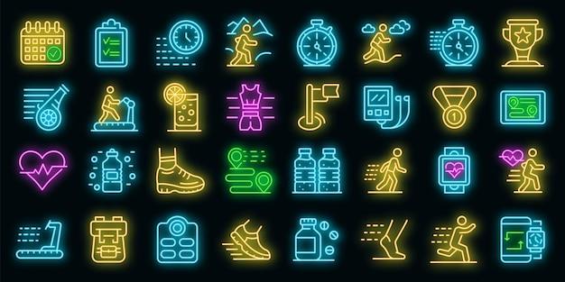 Laufende symbole gesetzt. umrisse von laufenden vektorsymbolen neonfarbe auf schwarz