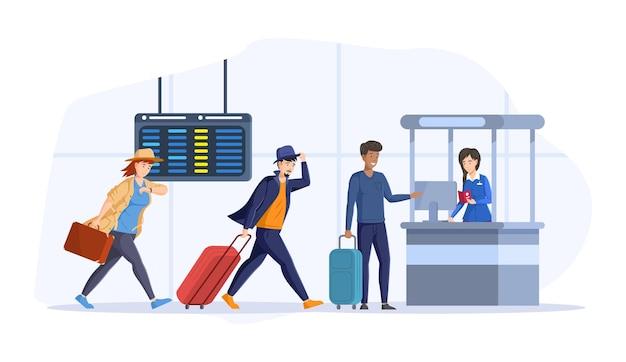Laufende touristen verzögern den abflug im flughafeninneren