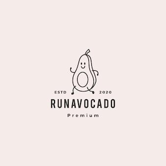 Laufende vektorikonenkarikatur-maskottchen-charakterillustration der avocadologohippie-weinlese retro-