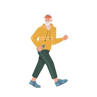 Laufender älterer mann in lässigem stoff reifes joggen