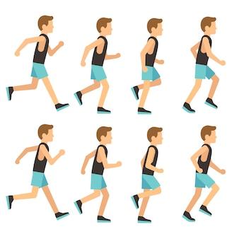 Laufender athletischer mann im trainingsanzug-animationsrahmen, sprite-reihenfolge