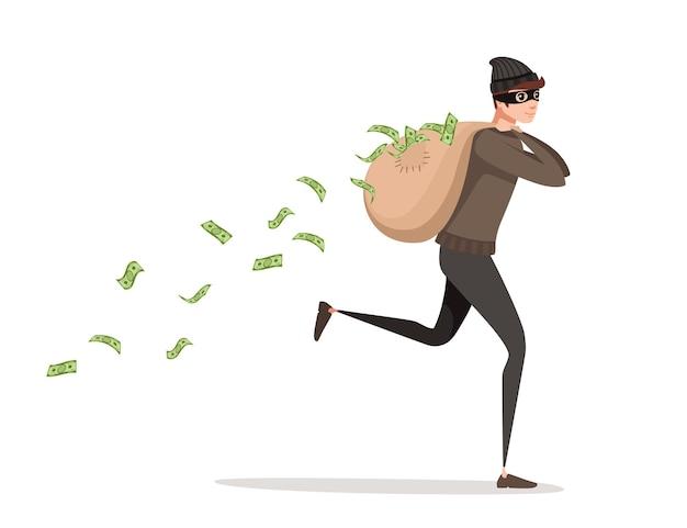 Laufender dieb während des raubes mit taschengeld gießt aus der flachen vektorillustration des taschenzeichentrickfilm-charakterdesigns