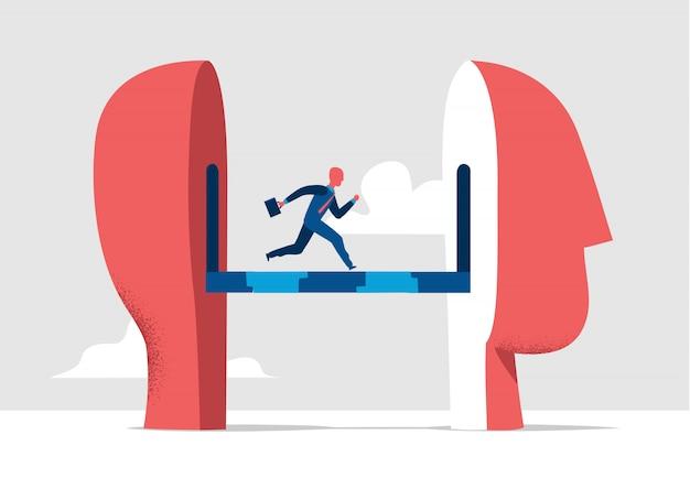 Laufender geschäftsmann, die art und weise ändernd, illustration zu denken
