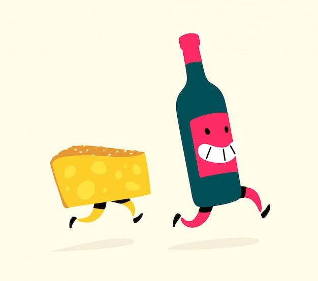Laufender käse und eine flasche wein.