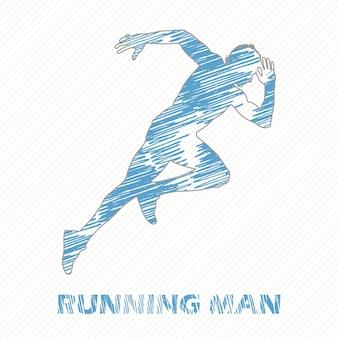 Laufender mann abbildung. kreatives und sportliches bild