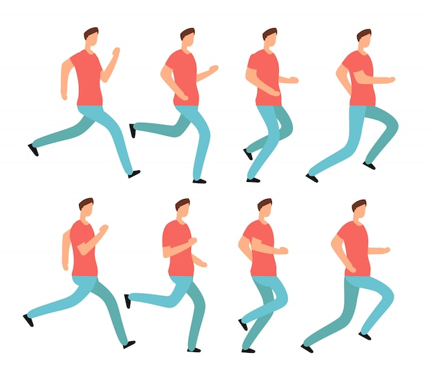 Laufender mann der karikatur in der zufälligen kleidung. junger mann, der rüttelt. lokalisierter vektorsatz des animationsrahmens reihenfolge