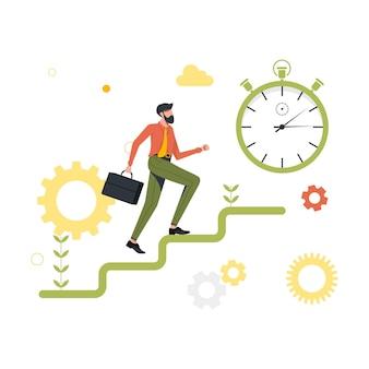 Laufender mann die karriereleiter hoch, stoppuhr. vektor-illustration