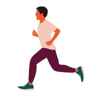 Laufender mann illustration im flachen stil isoliert auf weißem hintergrund