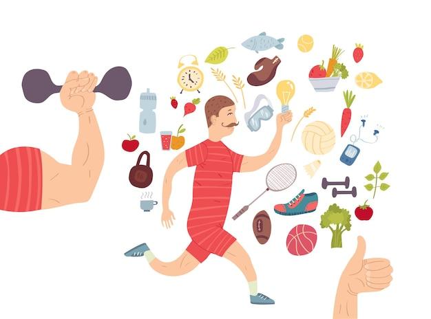 Laufender mann. jogger. cardiotraining sportgeräte, gesunder lebensstil und richtige ernährung