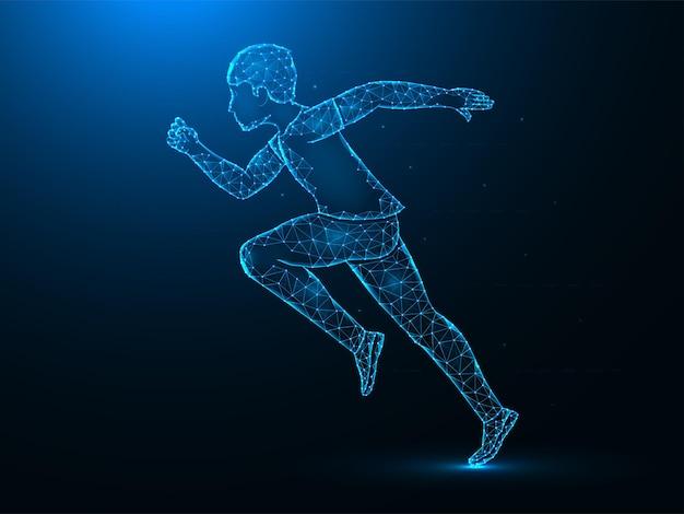 Laufender mann low poly art. übung oder marathonlauf polygonale illustrationen auf einem blauen hintergrund.