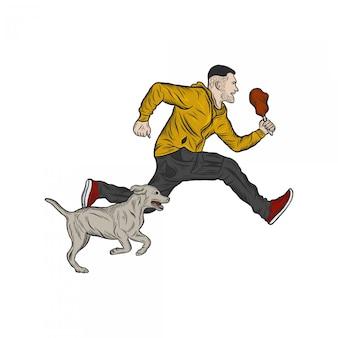 Laufender mann mit der hundehandzeichnung, die illustration graviert
