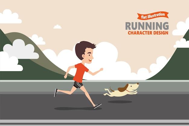 Laufender mann mit seinem hund in, berg und bewölktem hintergrund