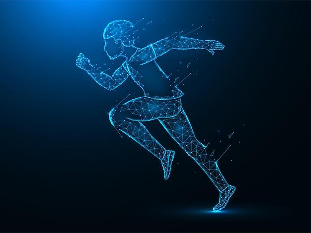 Laufender mann mit zerstörungseffekt niedrige polykunst. übung oder marathonlauf polygonale illustrationen auf einem blauen hintergrund.