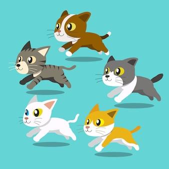 Laufender satz der karikaturkatzen