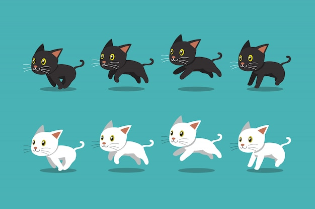 Laufender schritt der schwarzen katze der karikatur und der weißen katze