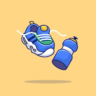 Laufender sneaker und mineralflaschenwasser-cartoon-vektor-symbol-illustration. sport icon concept isolierter premium-vektor. flacher cartoon-stil