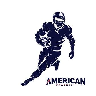 Laufendes Spieler-Fußballschattenbild des amerikanischen Fußballs, Logo des amerikanischen Fußballs