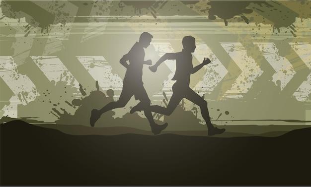 Laufsilhouetten trailrunning marathonläufer