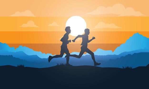 Laufsilhouetten trailrunning marathonläufer Premium Vektoren