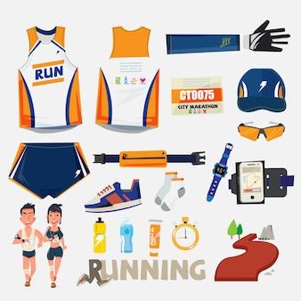 Laufsport mit ausrüstungsset - vektor
