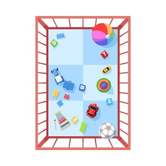 Laufstall halbflache rgb-farbvektorillustration. spielzeug für die babyunterhaltung. sicherer raum für kinder zum spielen. kleinkind heimspielplatz isoliert cartoon-objekt draufsicht auf weißem hintergrund