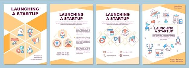Launching-startup-broschürenvorlage. geschäftsentwicklung. flyer, broschüre, broschürendruck, cover-design mit linearen symbolen. vektorlayouts für präsentationen, geschäftsberichte, anzeigenseiten