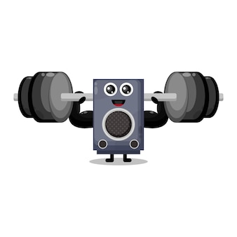 Lautsprecher fitness langhantel niedlichen charakter maskottchen
