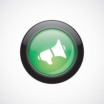 Lautsprecher glas zeichen symbol grün glänzend schaltfläche. ui website-schaltfläche