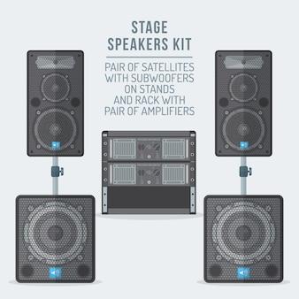 Lautsprecher kit satelliten auf ständern mit subwoofer und verstärker rack