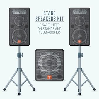 Lautsprecher kit satelliten auf ständern und subwoofer