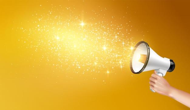Lautsprecher-megaphonhintergrund mit der menschlichen hand, die lautsprecher mit leuchtenden sternen und goldpartikeln hält