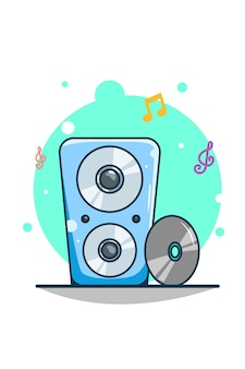Lautsprecher mit kassetten-cartoon-illustration