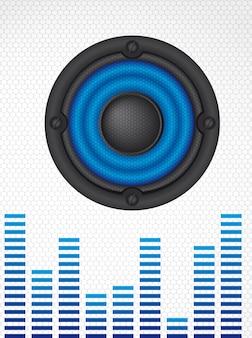 Lautsprecher mit netz über grauem ton