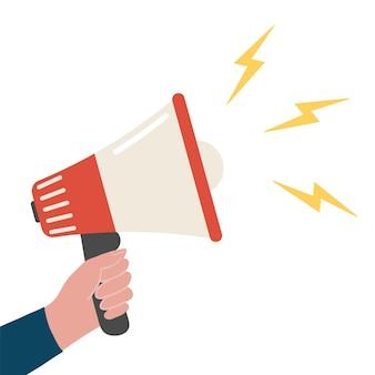 Lautsprecherhand mit megaphon-aufmerksamkeit oder verweisen sie auf eine flache cartoon-vorlage für die förderung des freundeskonzepts