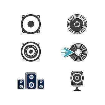 Lautsprecherwellen-vektorillustrations-designschablone