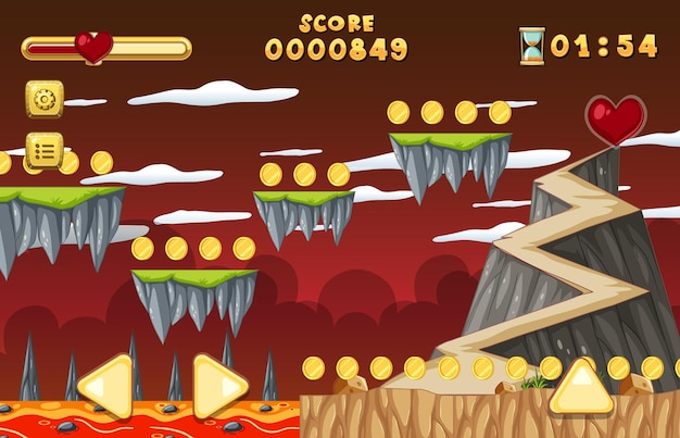 Lava cave platformer spielvorlage