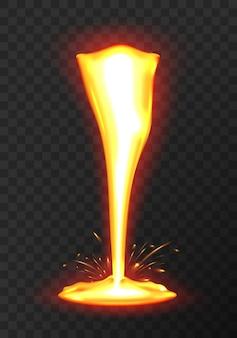 Lava oder geschmolzenes metall fließen. effekt flüssige lava auf transparentem hintergrund.